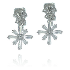 Children Clipon Earrings and Children Jewellery – Snowflake White Gold-plated Clip-on Earrings