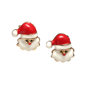 Children Clipon Earrings and Children Jewellery – Christmas Santa Claus gold-tone clip...