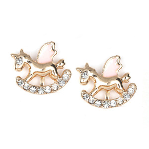 Children Clipon Earrings and Children Jewellery – Pink gold-tone Rocking Horse with Crystal