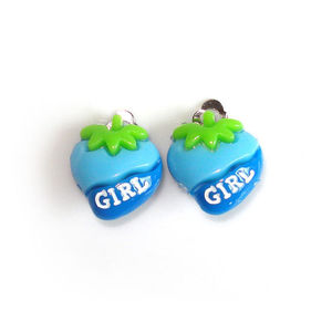 "Children Clipon Earrings and Children Jewellery – Blue ""GIRL"" Strawberries"
