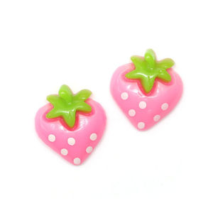 Children Clipon Earrings and Children Jewellery – Baby pink spotty strawberry clip-on earrings