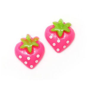 Children Clipon Earrings and Children Jewellery – Pink spotty strawberry clip-on earrings