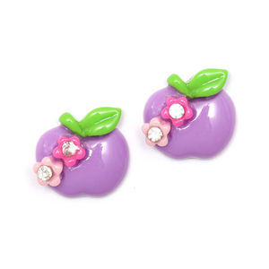 Children Clipon Earrings and Children Jewellery – Purple apple with flowers and rhinestones...