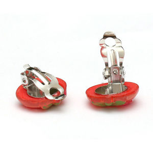 Children Clipon Earrings and Children Jewellery – Red kitty strawberry with glitter effect...
