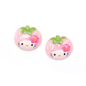 Children Clipon Earrings and Children Jewellery – Baby pink kitty strawberry with glitter...