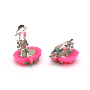 Children Clipon Earrings and Children Jewellery – Pink kitty strawberry clip-on earrings
