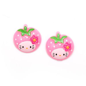 Children Clipon Earrings and Children Jewellery – Baby pink kitty strawberry clip-on earrings