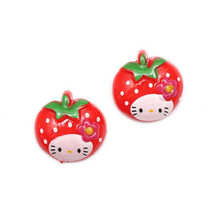 Children Clipon Earrings and Children Jewellery – Red kitty strawberry clip-on earrings