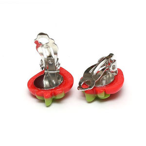 Children Clipon Earrings and Children Jewellery – Red spotty strawberry clip-on earrings