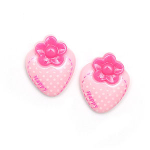 Children Clipon Earrings and Children Jewellery – Light pink polka dot strawberry clip-on...