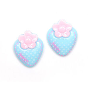 Children Clipon Earrings and Children Jewellery – Blue polka dot strawberry clip-on earrings