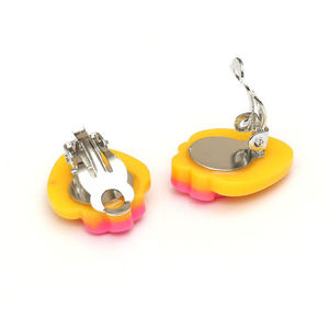 Children Clipon Earrings and Children Jewellery – Yellow polka dot strawberry clip-on earrings