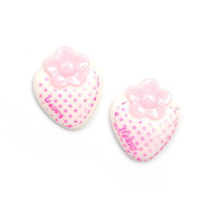 Children Clipon Earrings and Children Jewellery – White polka dot strawberry clip-on earrings