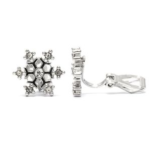 Children Clipon Earrings and Children Jewellery – Silver-tone Snowflake With Crystals...