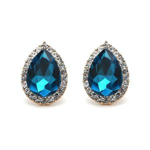 Children Clipon Earrings and Children Jewellery – Sky Blue Crystal Diamante Pear-Shaped...