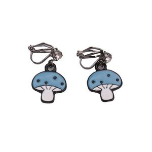 Children Clipon Earrings and Children Jewellery – Blue Mushroom Drop Clip On Earrings