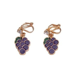 Children Clipon Earrings and Children Jewellery – Purple Grapes Drop Clip On Earrings