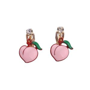 Children Clipon Earrings and Children Jewellery – Pink Peach Fruit Drop Clip On Earrings