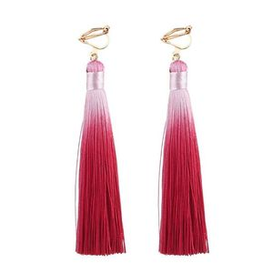 Children Clipon Earrings and Children Jewellery – Rose Red Two Tone Tassel Drop Clip On...
