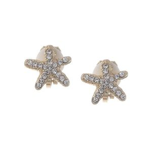 Children Clipon Earrings and Children Jewellery – Gold Tone Crystal Starfish Clip On Earrings