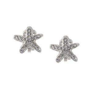 Children Clipon Earrings and Children Jewellery – Silver Tone Crystal Starfish Clip On...
