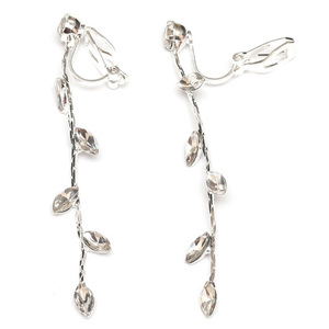 Children Clipon Earrings and Children Jewellery – CZ Leaves Drop Clip-ons