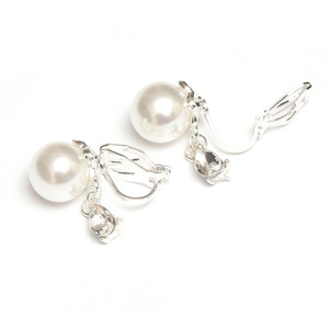 Children Clipon Earrings and Children Jewellery – White faux-pearl with teardrop crystal...