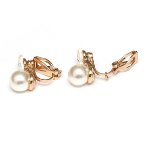 Children Clipon Earrings and Children Jewellery – White flower with round faux-pearl clip...