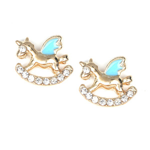 Children Clipon Earrings and Children Jewellery – Blue gold-tone Rocking Horse with Crystal