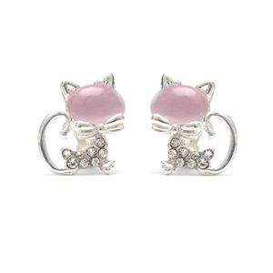 Children Clipon Earrings and Children Jewellery – Cats with pink cat-eye-effect stone