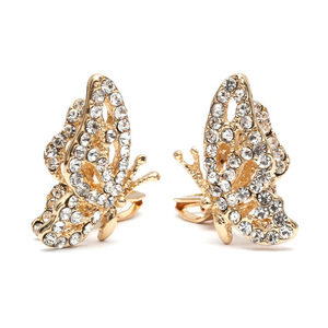 Children Clipon Earrings and Children Jewellery – Gold-tone butterfly with white crystal...