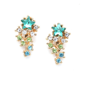 Children Clipon Earrings and Children Jewellery – Turquoise star with cascading crystal...