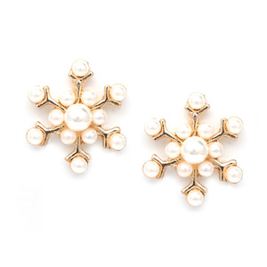 Children Clipon Earrings and Children Jewellery – White faux pearl snowflake gold-tone...