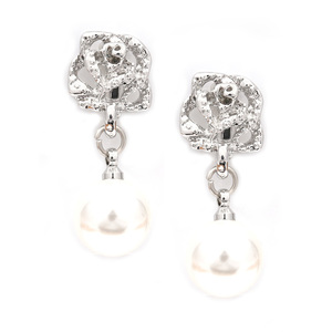 Children Clipon Earrings and Children Jewellery – Silver-tone rose with white faux pearl...
