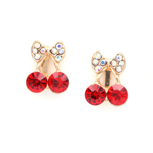 Children Clipon Earrings and Children Jewellery – Red crystal cherries and diamante bow...
