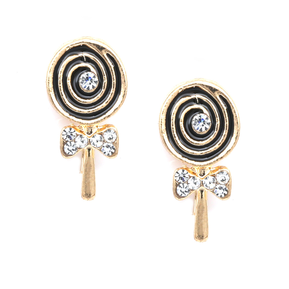 lollipop with crystal gold tone clip on earrings. Black Bedroom Furniture Sets. Home Design Ideas